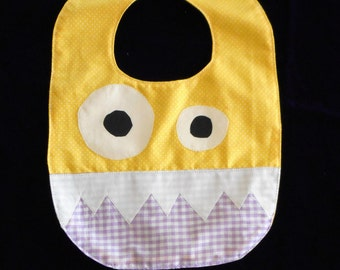 Yellow and Lavender Monster Bib