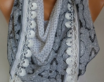 White Cotton Scarf,Teacher Gift, Summer,Necklace Cowl Scarf Gift Ideas for Her Women Fashion Accessories Bridesmaid Gift, Women Scarves