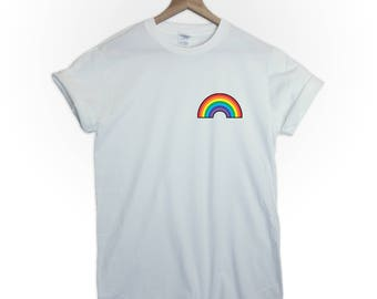 RAINBOW tshirt shirt top tee love equality bisexual gay pride girls who kiss girls lesbian asexual gayness graphic funny cute  tumblr