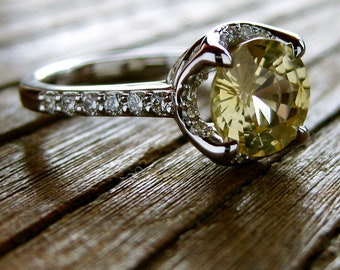 Yellow Sapphire Engagement Ring with Diamonds in a 14K White Gold Basket-Style Setting Size 6