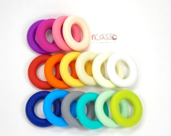 Teether RING food silicone, many color available, baby, chew toy, shower gift, Christmas, Breastfeeding, Chewing pendant, Toy teether, gift