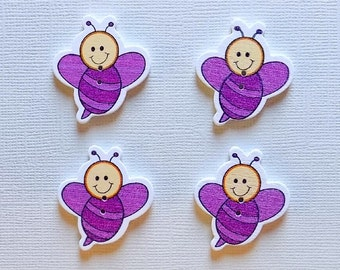 4 Wooden Bee Buttons - #SB-00116