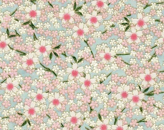 Chiyogami or yuzen paper - full bloom cherry blossoms - pink and white on blue, 9x12 inches