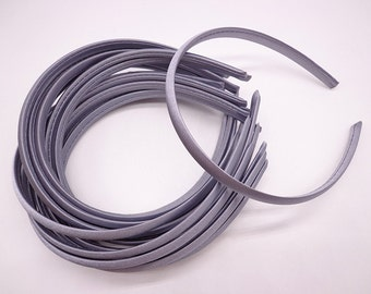 SALE--30 pcs Dark Gray Plastic Headband With Cloth Covered 10mm Wide
