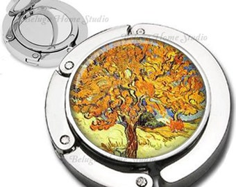 Van Gogh Mulberry Tree Purse Hook Bag Hanger Lipstick Compact Mirror