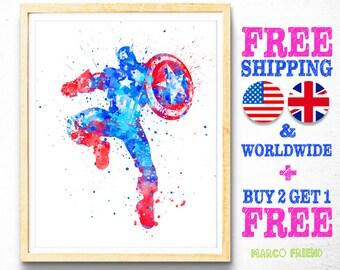 Captain America Avengers Watercolor Art Poster Print - Wall Art - Watercolor Superhero - Gifts - Home Decor - Kids Decor - Nursery Decor -64