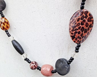 Funky Cheetah Print Beaded Asymmetrical Necklace