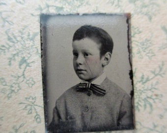 antique miniature gem tintype photo - 1800s, young boy in sweater with bow tie