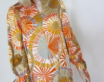 60s Kaftan Dynasty Psychedelic Sunwheels Caftan Maxi Dress - Vintage 1960s Caftan - Talitha Getty Style Designer Fashion - 10