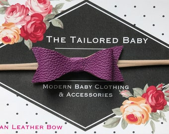 Leather Bows, Vegan Leather Bows, Faux Leather Bows, Leather Bow Headband, Leather Bow Hair Clip, Purple Bow, Purple Cegan Leather Bow