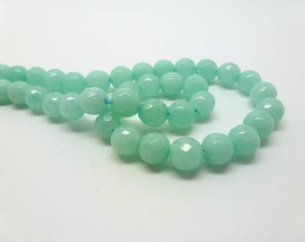 12 jade beads dyed 6mm Seagreen faceted (USPJ08-8)
