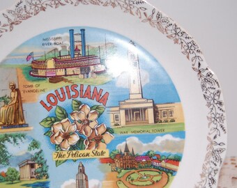 Vintage Louisiana Collectible Plate, Pelican State, Porcelain Plate, State Plate