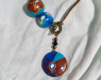 Pendant inspired by the forbidden city /Chine gold leather cord necklace