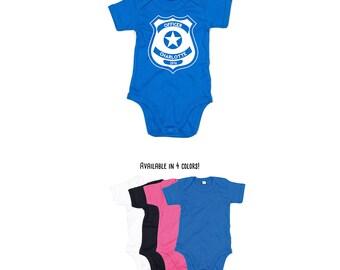 Police romper, baby police romper, officer romper, police badge, personalized romper, custom name romper, name romper, baby romper