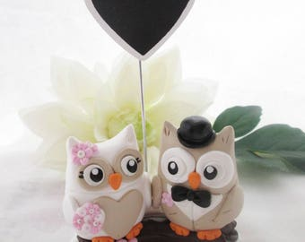 Subject of owls romantic wedding cake - Cake Topper