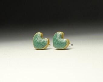 heart ear studs, round geometric post earrings , nickel free pins, jewelry for alergic, ceramic earrings, ceramic jewelry
