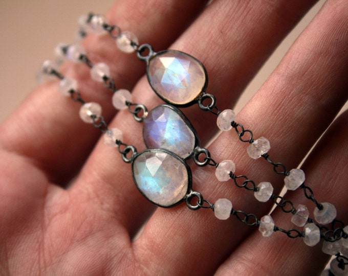 Rainbow Moonstone Beaded Choker Sterling Silver Necklace