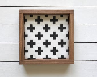 Black and White Swiss Cross Wood Sign