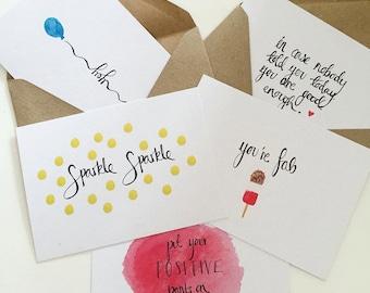 "Set of 5 ""Be Positive"" Postcards"