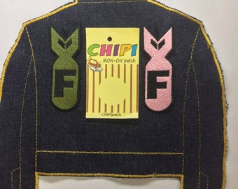 f bomb iron on embroidery medium patches