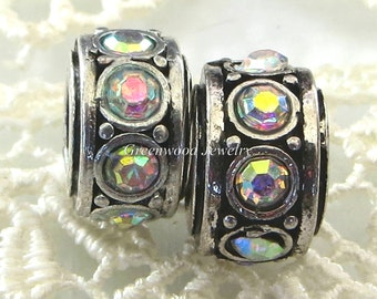 2pcs. Aurora Borealis - Birthstone, European Charm Bead For Large Hole Charm Bracelet And Necklace Chain, Crystal Spacer. 8x11mm