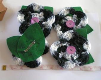 Handmade Crochet Black and White Wool and Felt Brooch