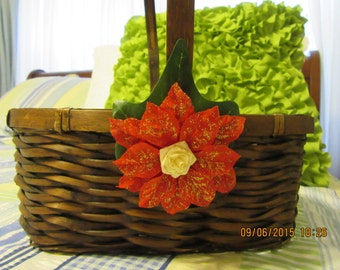 Basket Flower Girl Brown Wicker Basket Home Decor Natural Brown Wicker BasketRed Poinsettia Accent Wedding Gift Storage Country Decor