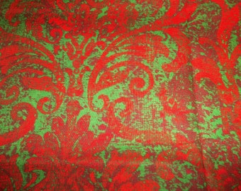Christmas Damask Red and Green Damask Quilting Sewing Cotton Fabric By The Half Yard