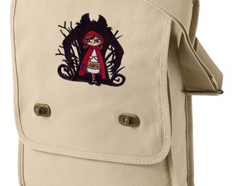 Wolf Shadow Embroidered Canvas Field Bag