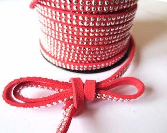 1 m x 5mm red cherry cord suede / silver rhinestones