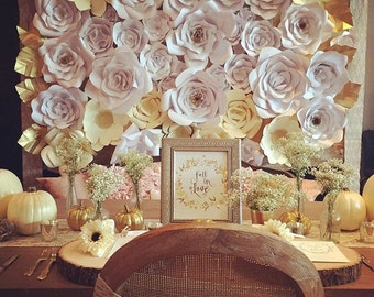 Paper flower wall, paper flower backdrop, vintage inspired. 8'x8' backdrop