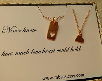 Mother & Doughter Heart Cut Out Necklace, Gold Heart Necklace,  Heart card necklace, best friend 2