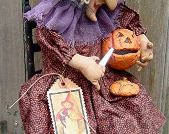 The Country Cupboard Witchey Poo Witch Carving a Pumpkin Craft Sewing Pattern Halloween Decor