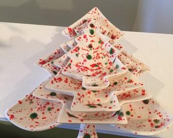 Mid Century Chalkware Stacking Xmas Tree Dishes