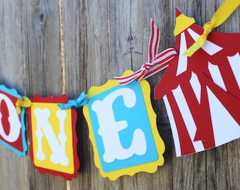 First Birthday High Chair Banner - Circus Birthday - One Banner - Birthday Banner - Carnival Birthday - 1st Birthday Banner