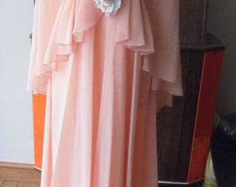 1970s peach dress by John Charles, made in England, Size 10