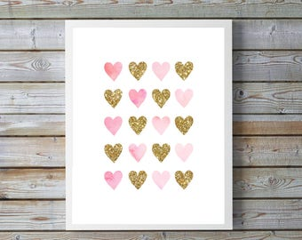 Pink, gold,watercolor heart,Glitter,hearts,nursery art,nursery decor,nursery girl,nursery pink,nursery watercolor,gift for nursery, for home