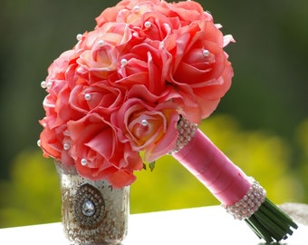 Real Touch Coral Guava Rose Wedding Bouquet Simplicity
