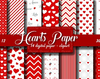 Red Heart digital paper Red Love digital paper Heart pattern Pack Love Scrapbook papers Red Heart background Romantic patterns Heart clipart