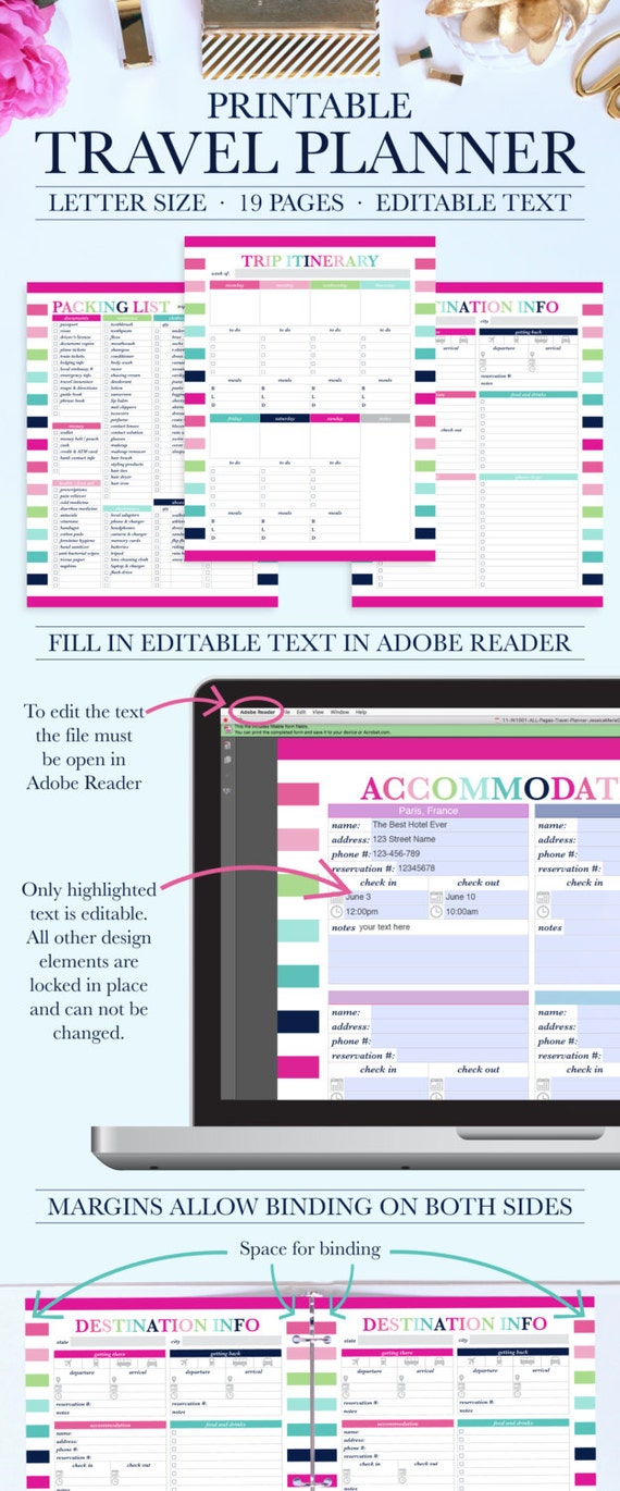 Printable Travel Planner Vacation Planner Kit Trip Planner