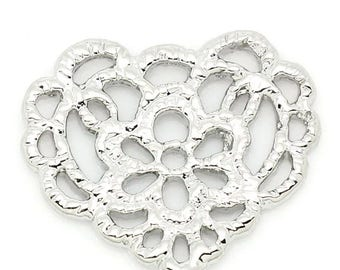heart connector and silver lace