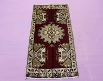 "1'10"" x 3'8"" Turkish Oushak Rug, Doormat Rug, Turkish Small Rug"