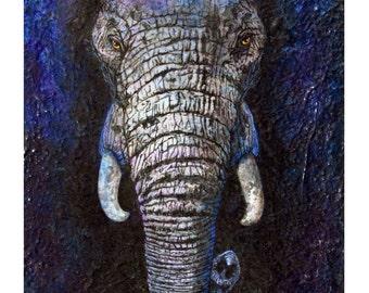 "Elephant Art ~ Limited Edition Print of an Elephant - Animal Art -Elephant- "" Out Of The Shadows"""