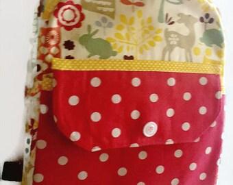 Cute child's backpack, child's rucksack, polka dot rucksack, owl print rucksack, school book bag, kids backpack, zippered childs backpack