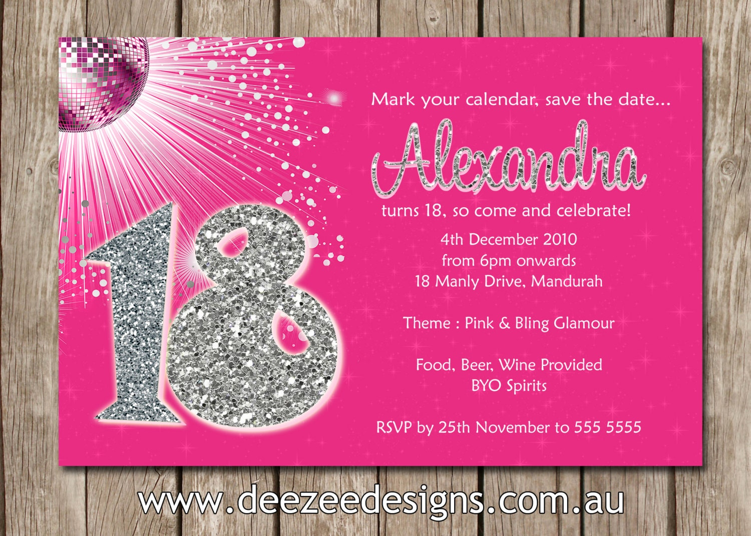 Personalised Bling Birthday Invitations 18th 21st 30th 40th