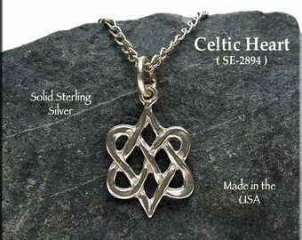 Celtic Double Heart Charm Necklace, Sterling Silver Entwined Hearts Valentine Jewelry Wedding Bridesmaid, Twin Flame, Celtic Jewelry 2894