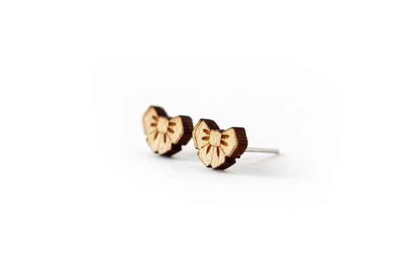 Bowtie studs - cute earrings - tiny posts - mini kawaii jewelry - graphic jewellery - lasercut maple wood - hypoallergenic surgical steel