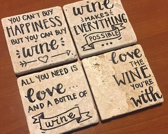 Wine Lover // Natural Stone Wine Coasters