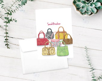 Purse Lover, Handbags Note Cards, Leopard Print, Personalized Note Cards, Stationery Set, Thank You Cards, Stationary Set, Notecards