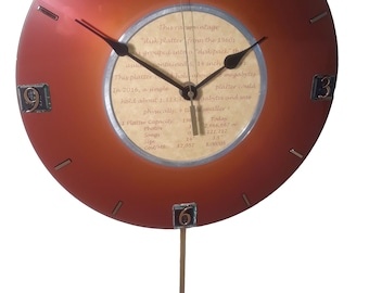 PRICE DROP! Pendulum Clock from IBM Vintage Computer Hard Drive Platter from the 1960s. A Unique Retirement Gift, Office Gift, Company Gift?